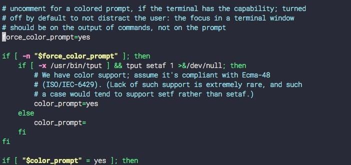 цветной вывод терминала Linux